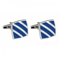 Manschettenknöpfe mit silbernen Streifen, blau